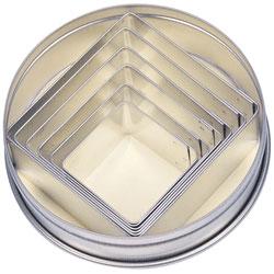 Kakformar Fyrkanter 6 st i förvaringsask