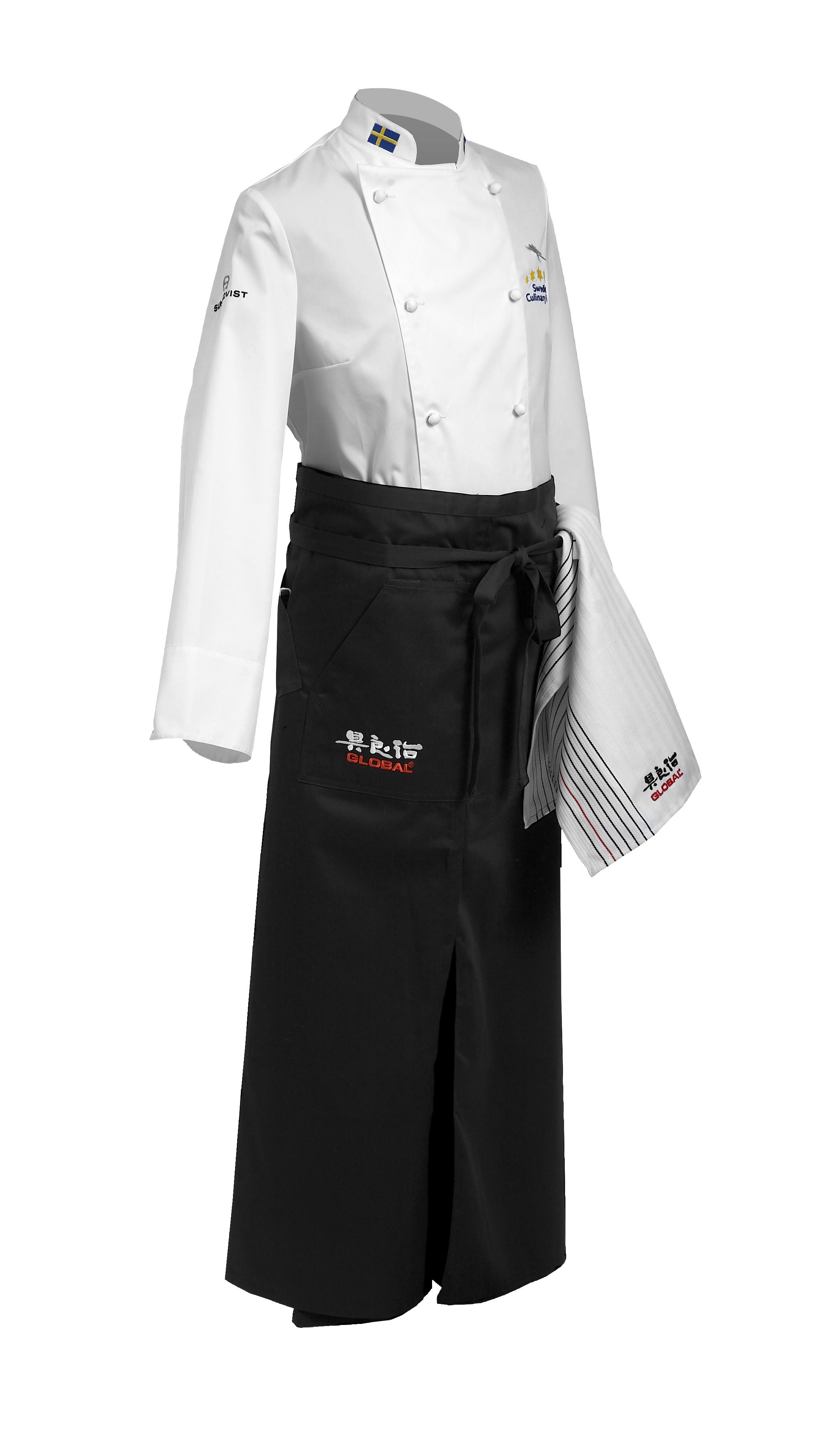 Global G-1003 Kyparförkläde med Slits, Ficka för Vinöppnare
