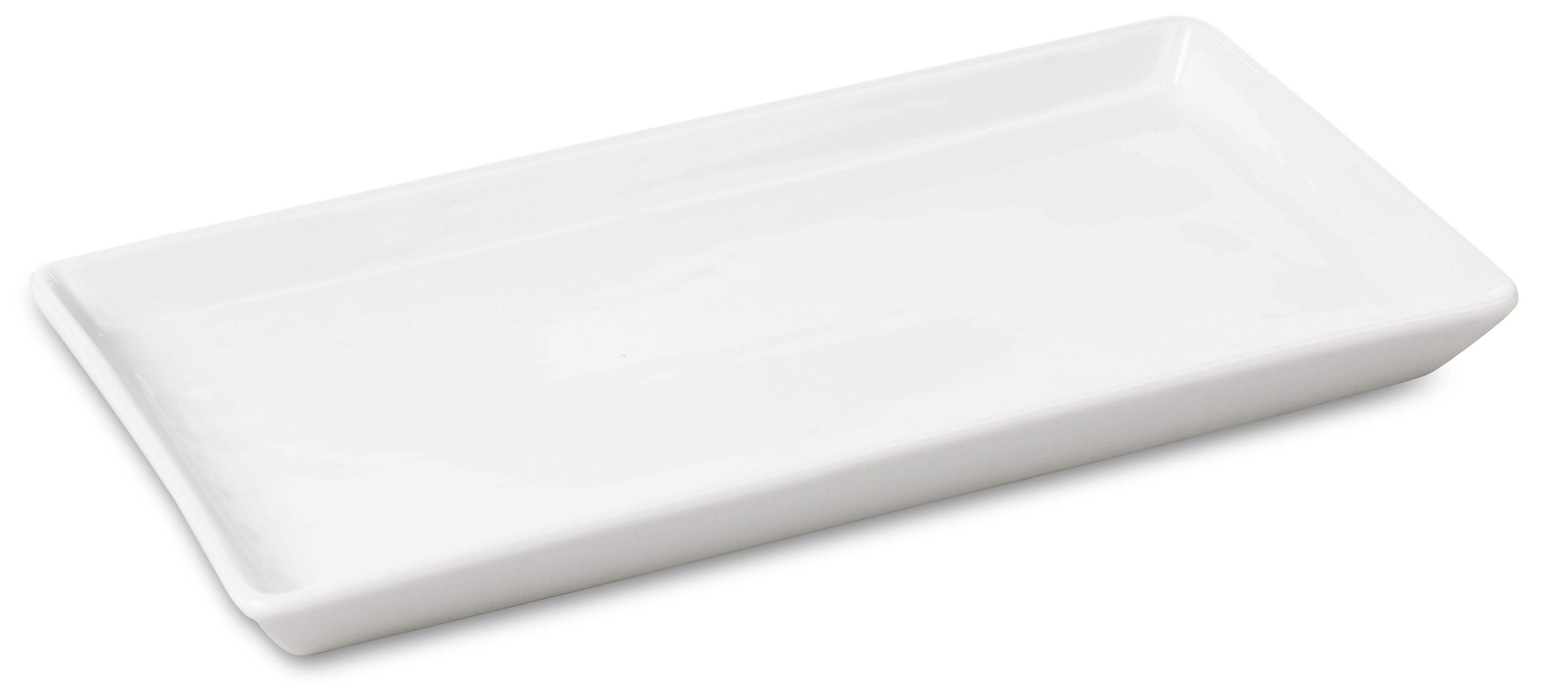 Rektangulärt porslinsfat/tallrik 30 x 15 cm Vitt