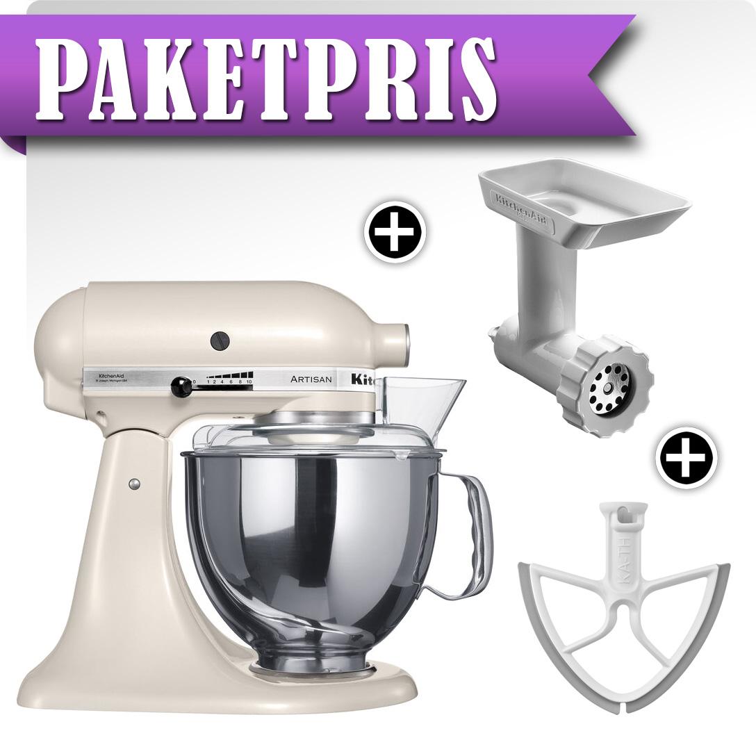 KitchenAid Artisan KSM150PSELT Pärlvit + Köttkvarn + Beaterblade