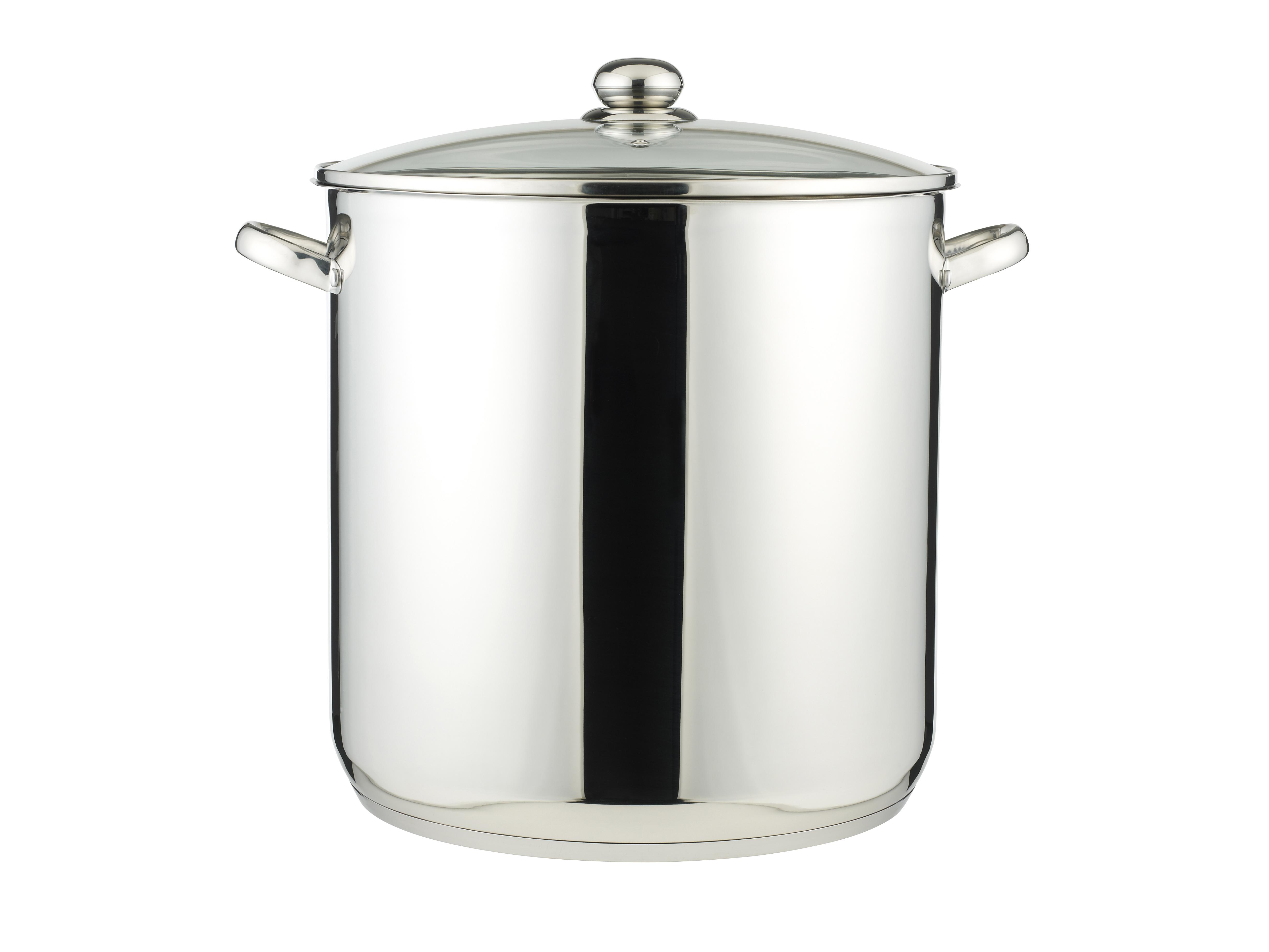 Stor Gryte 30 Liter Rustfri med Glasslokk