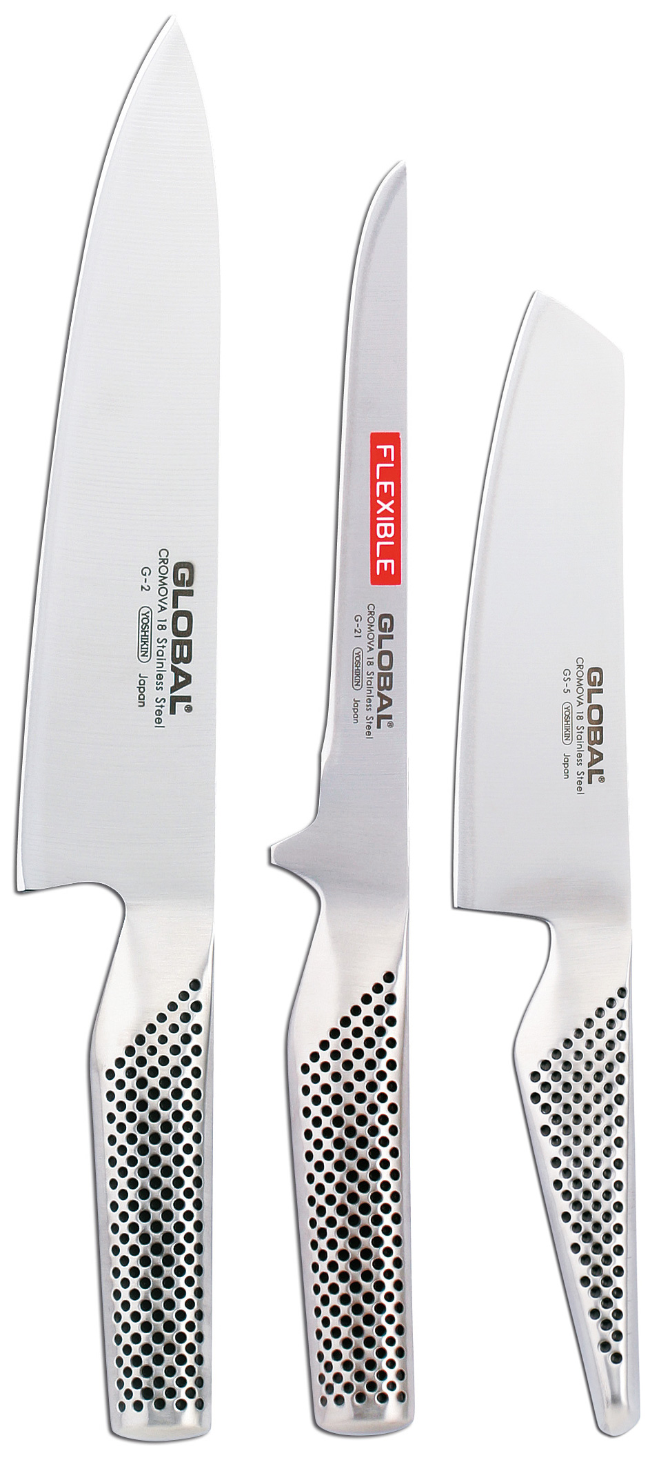 Global Knivsett 3 Kniver, Kokkekniv, Fileteringskniv, Grønnsakskniv