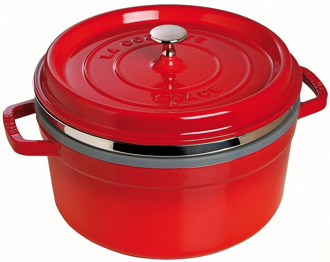 Staub Rund Gryta med Ånginsats 26 cm 52 liter Röd
