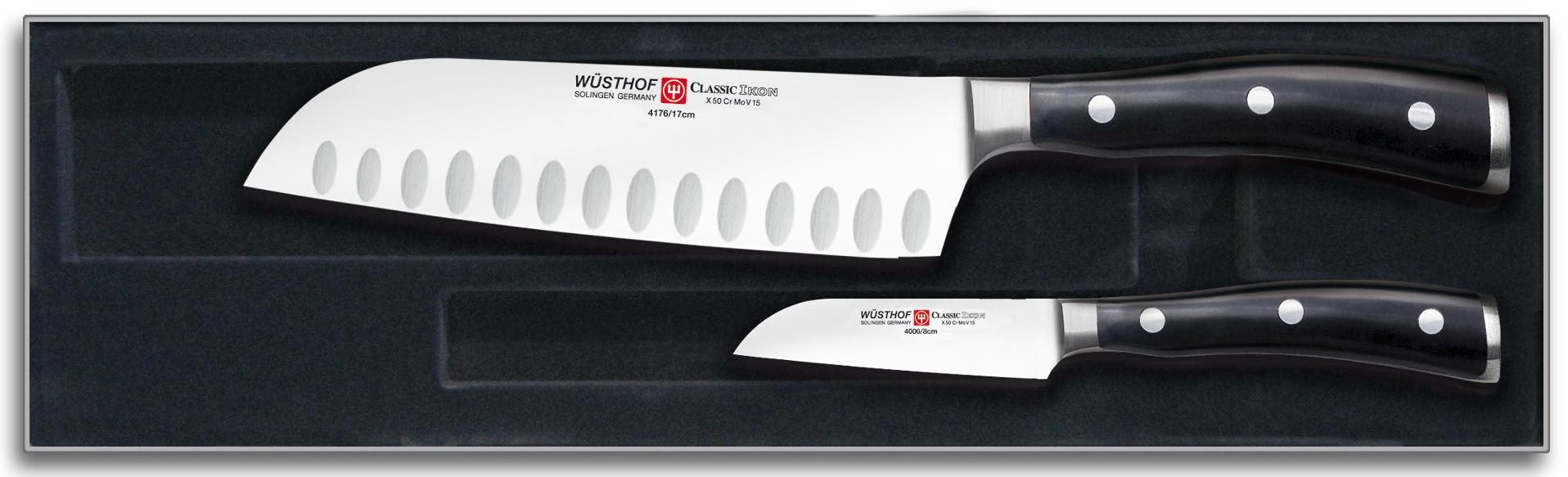 Wüsthof Classic Ikon Knivsett 2 deler Svart, Santoku + Skrellekniv
