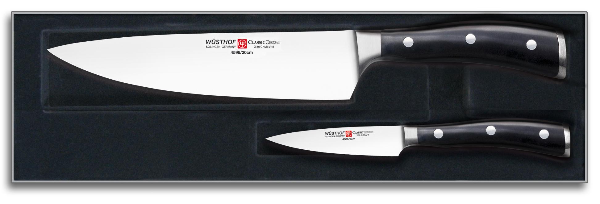 Wüsthof Classic Ikon Knivsett 2 deler Svart, Kokkekniv + Skrellekniv