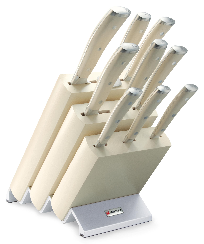 Wüsthof Classic Ikon Knivblokk med 9 Kniver Asp Hvitt