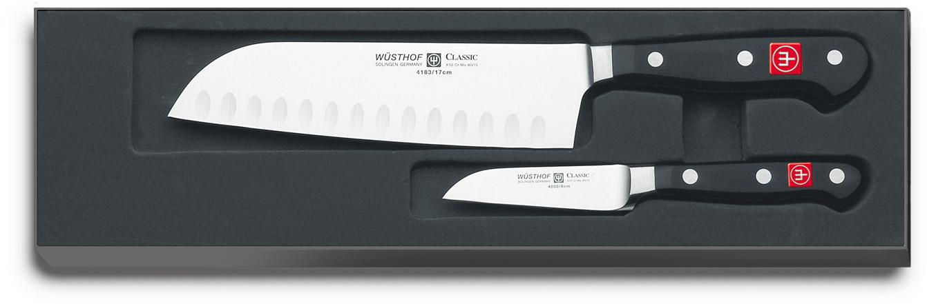Wüsthof Classic Knivset 2 delar Santoku + Skalkniv