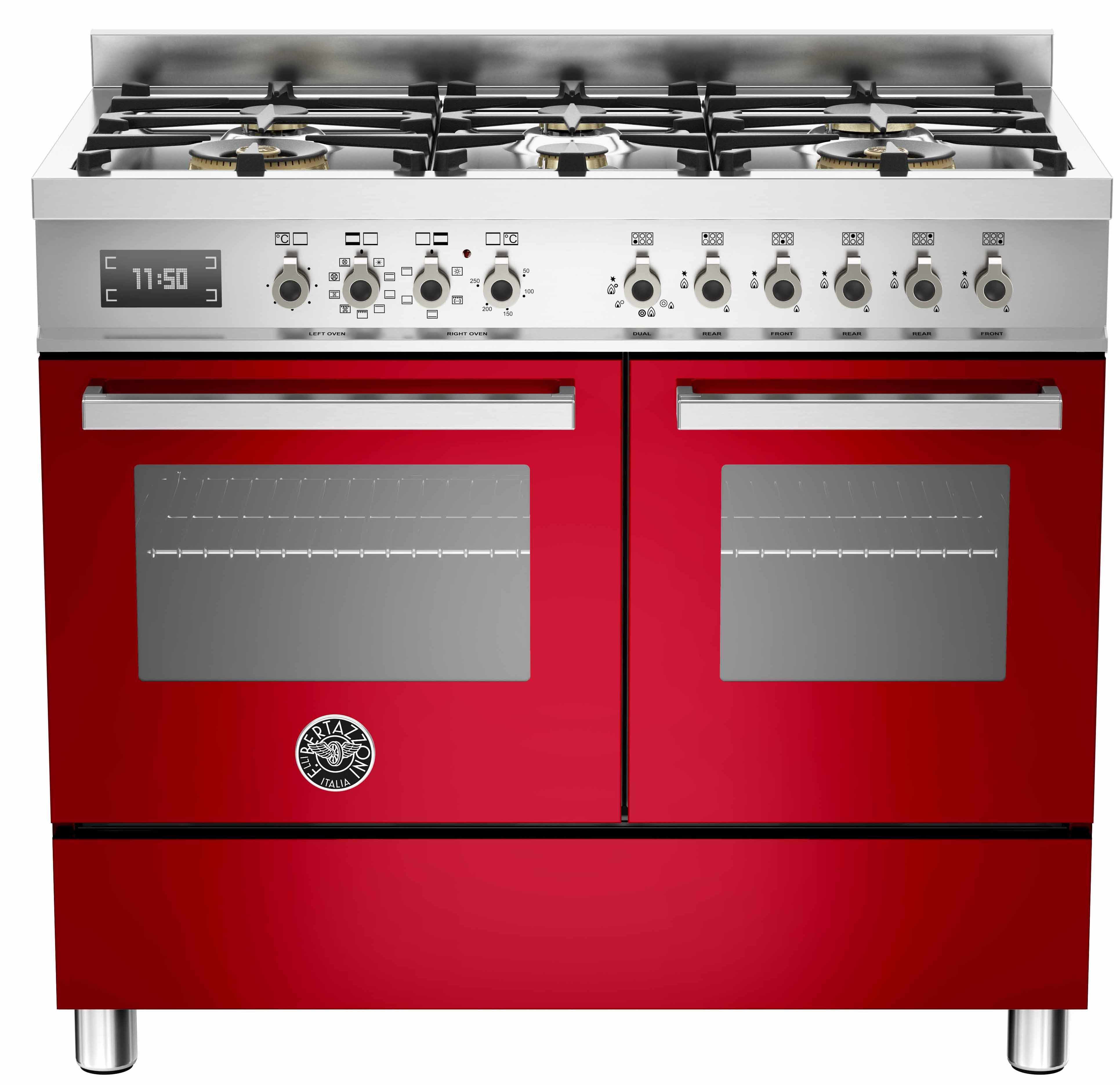 Bertazzoni PRO1006 Gasspis 100 cm 2 ugnar 6 brännare Röd