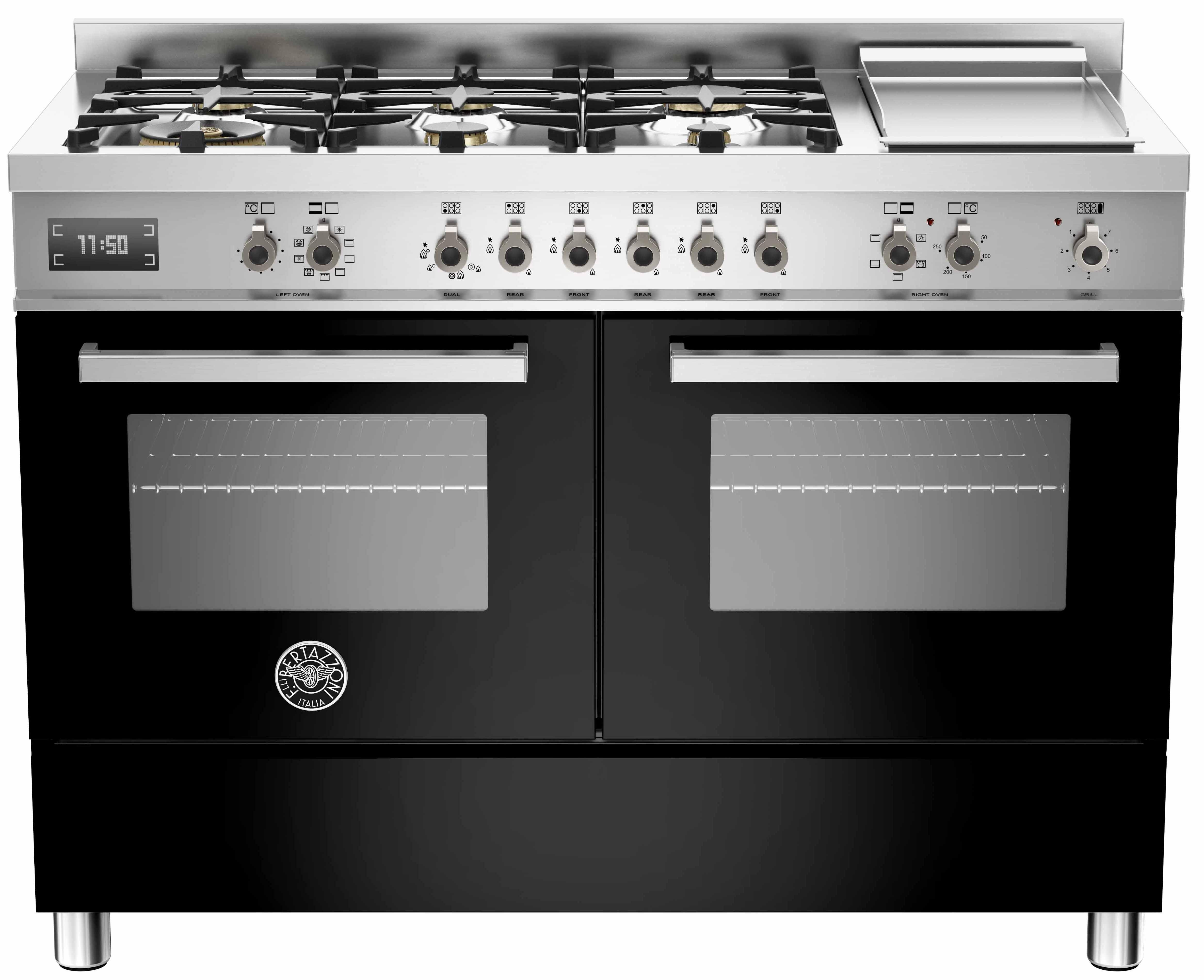 Bertazzoni PRO1206 Gasspis 120 cm, 2 ugnar, 6 brännare + elektrisk tepanyaki, svart