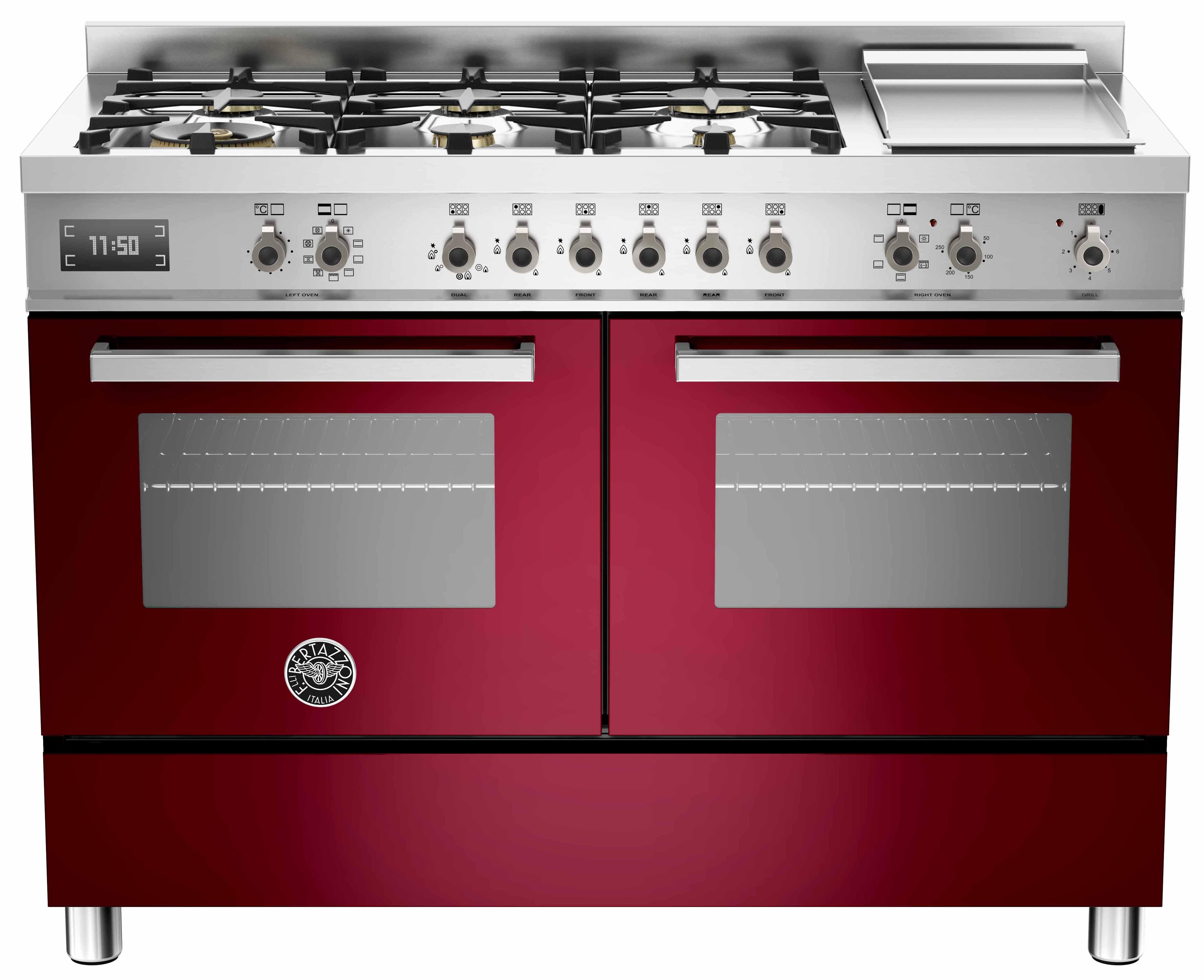 Bertazzoni PRO1206 Gasspis 120 cm, 2 ugnar, 6 brännare + elektrisk tepanyaki, vinröd