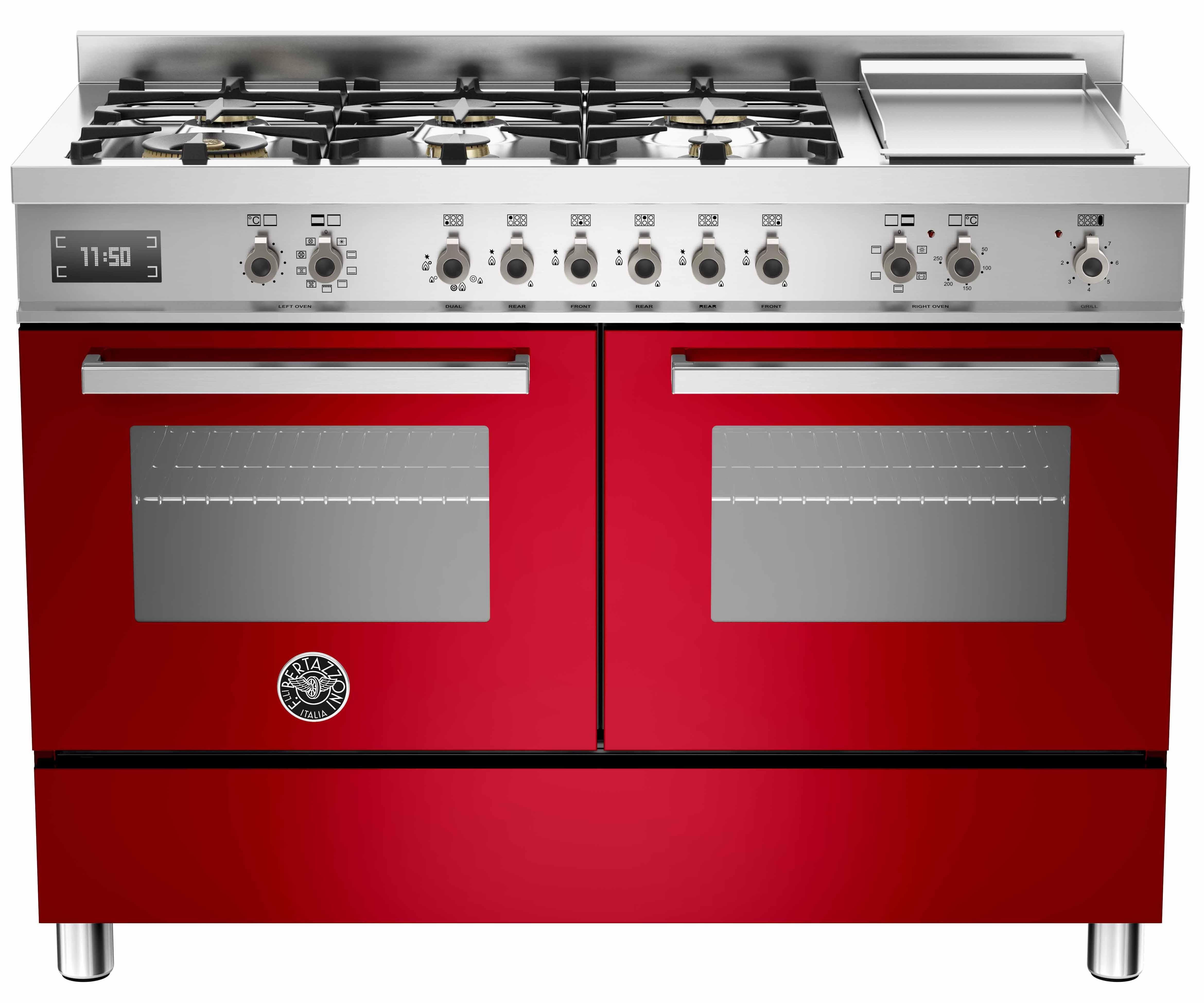 Bertazzoni PRO1206 Gasspis 120 cm, 2 ugnar, 6 brännare + elektrisk tepanyaki, röd