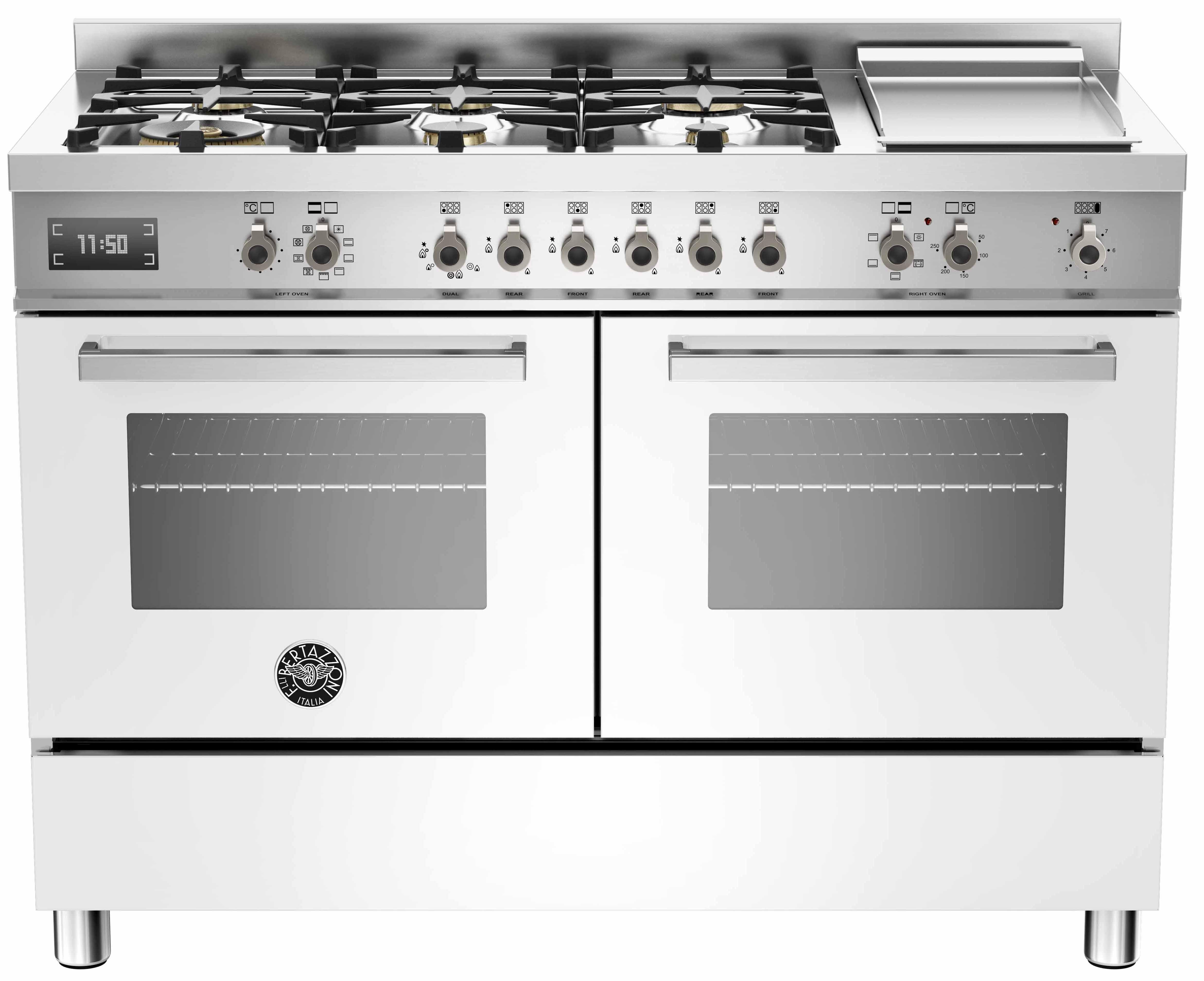 Bertazzoni PRO1206 Gasspis 120 cm, 2 ugnar, 6 brännare + elektrisk tepanyaki, vit