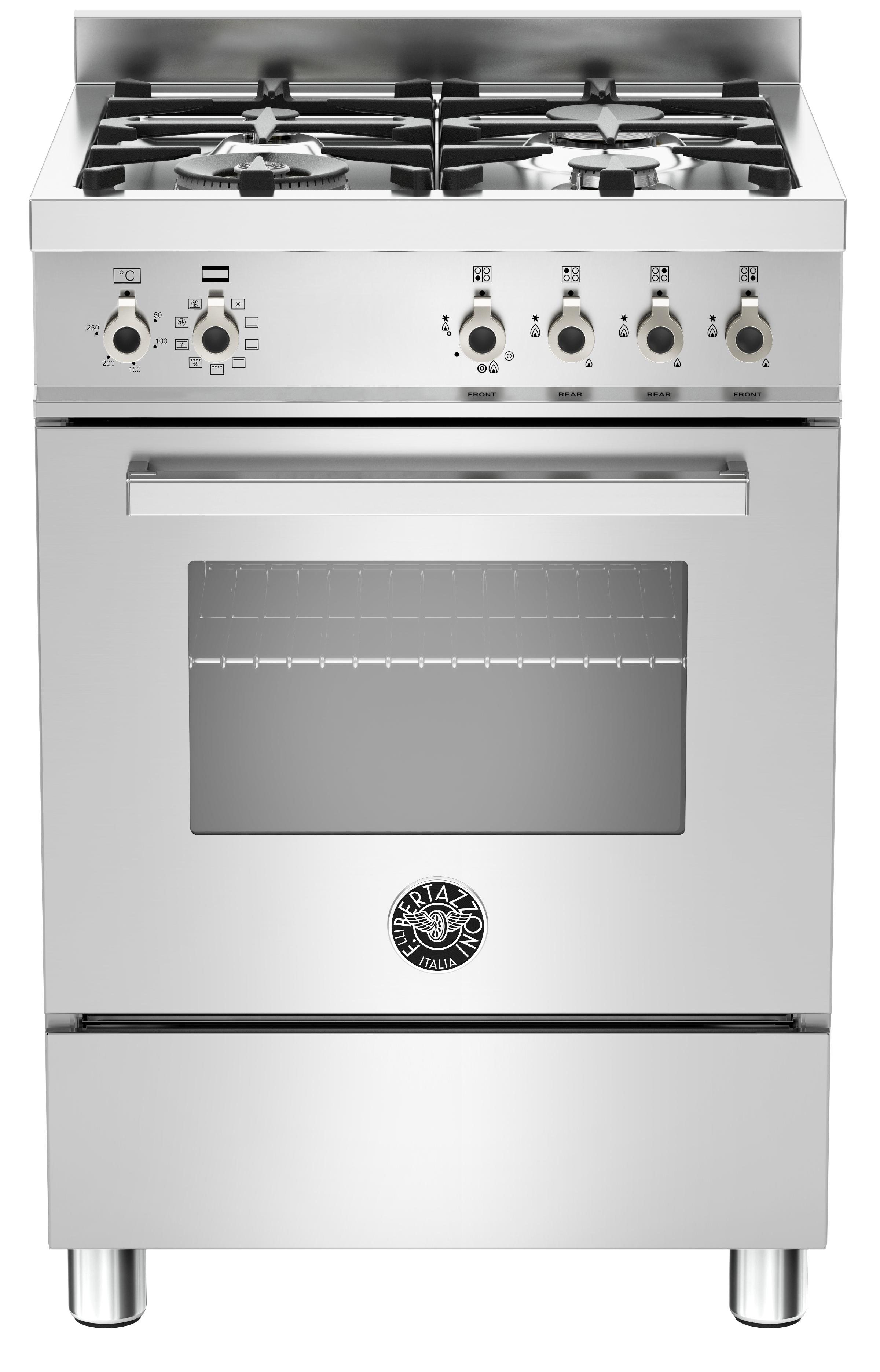 Bertazzoni PRO604 Gasspis 60 cm, 1 ugn, 4 brännare, rostfri, modell XE