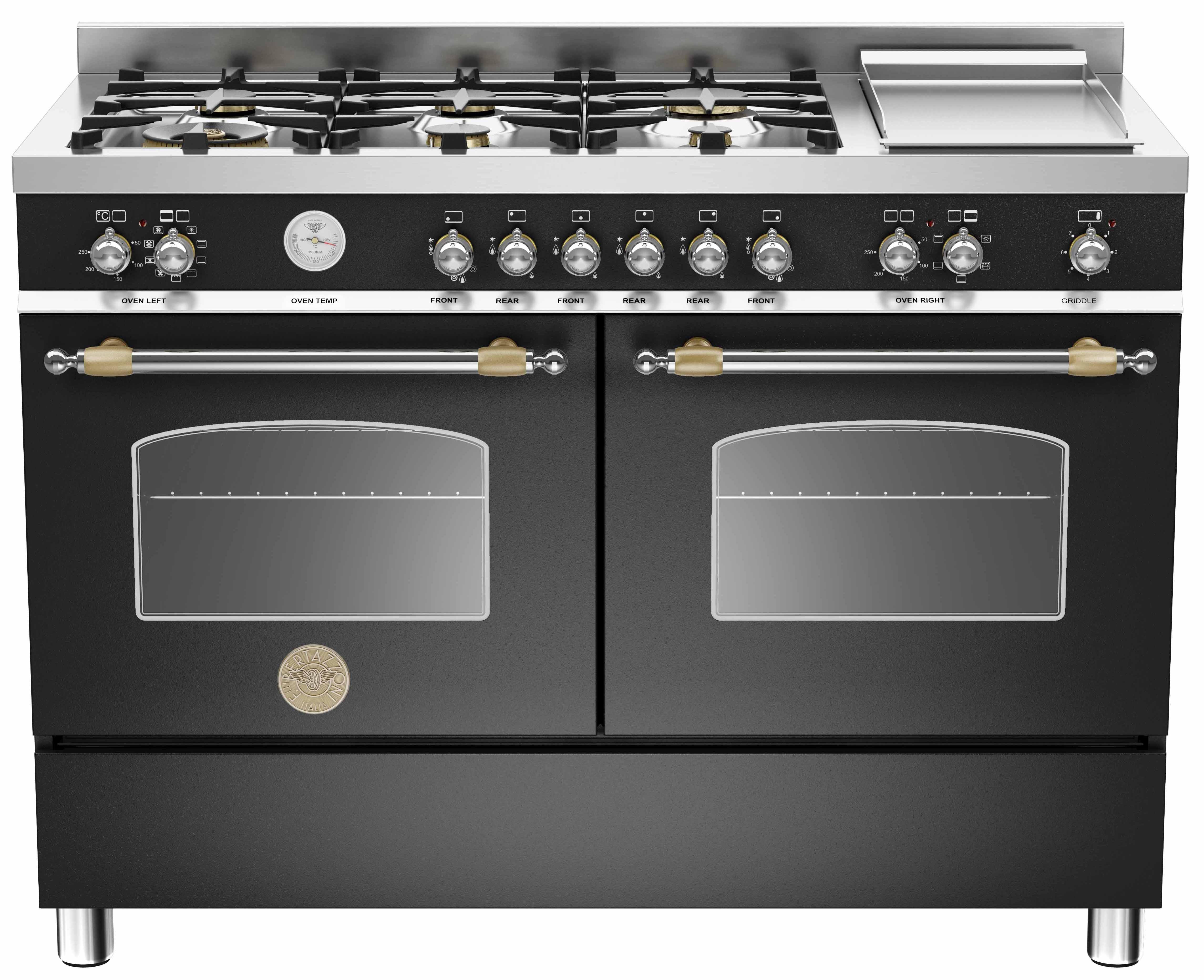 Bertazzoni HER1206 Gasspis 120 cm, 2 ugnar, 6 brännare + elektrisk tepanyaki, Svart
