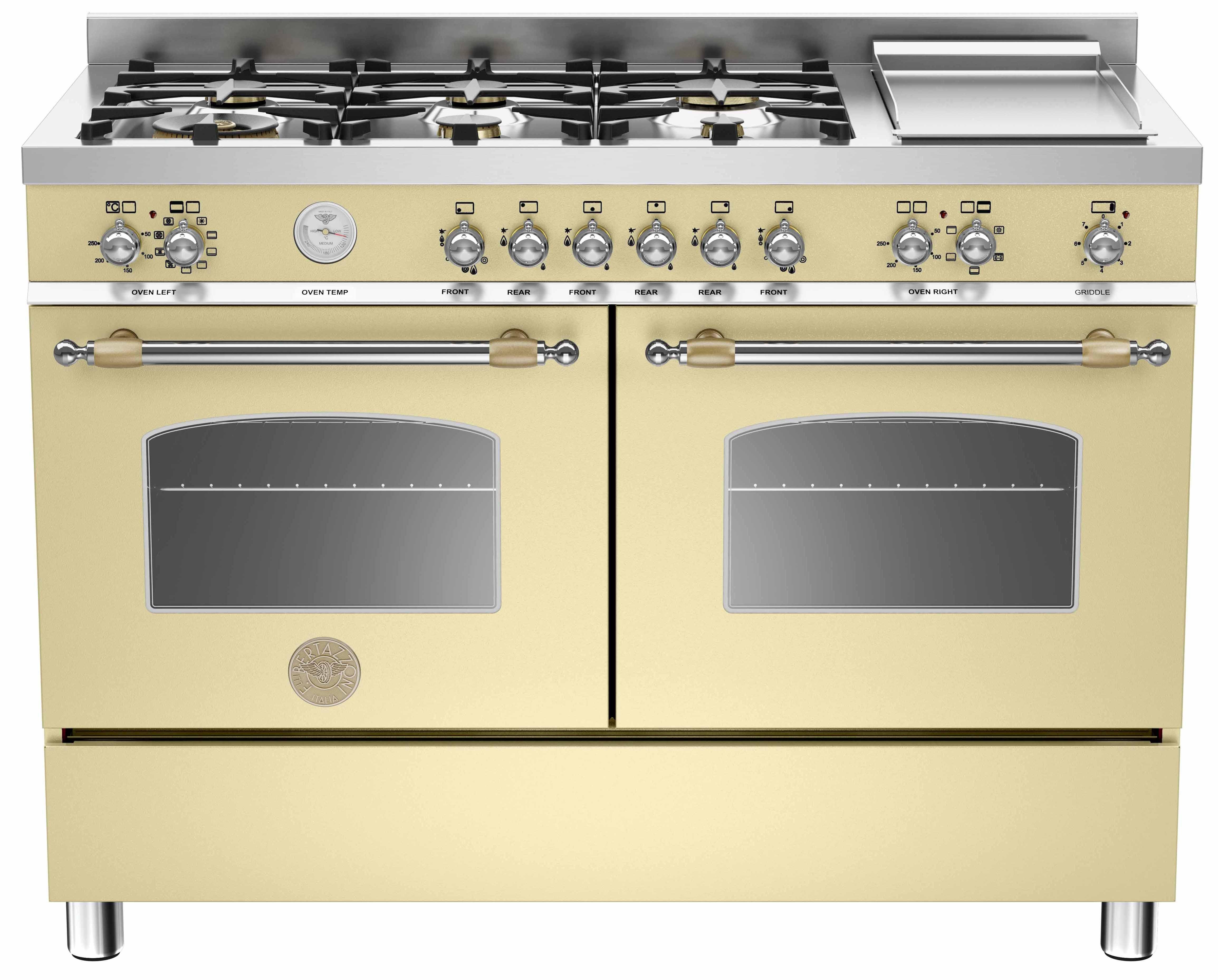 Bertazzoni HER1206 Gasspis 120 cm 2 ugnar 6 brännare + elektrisk tepanyaki Beige