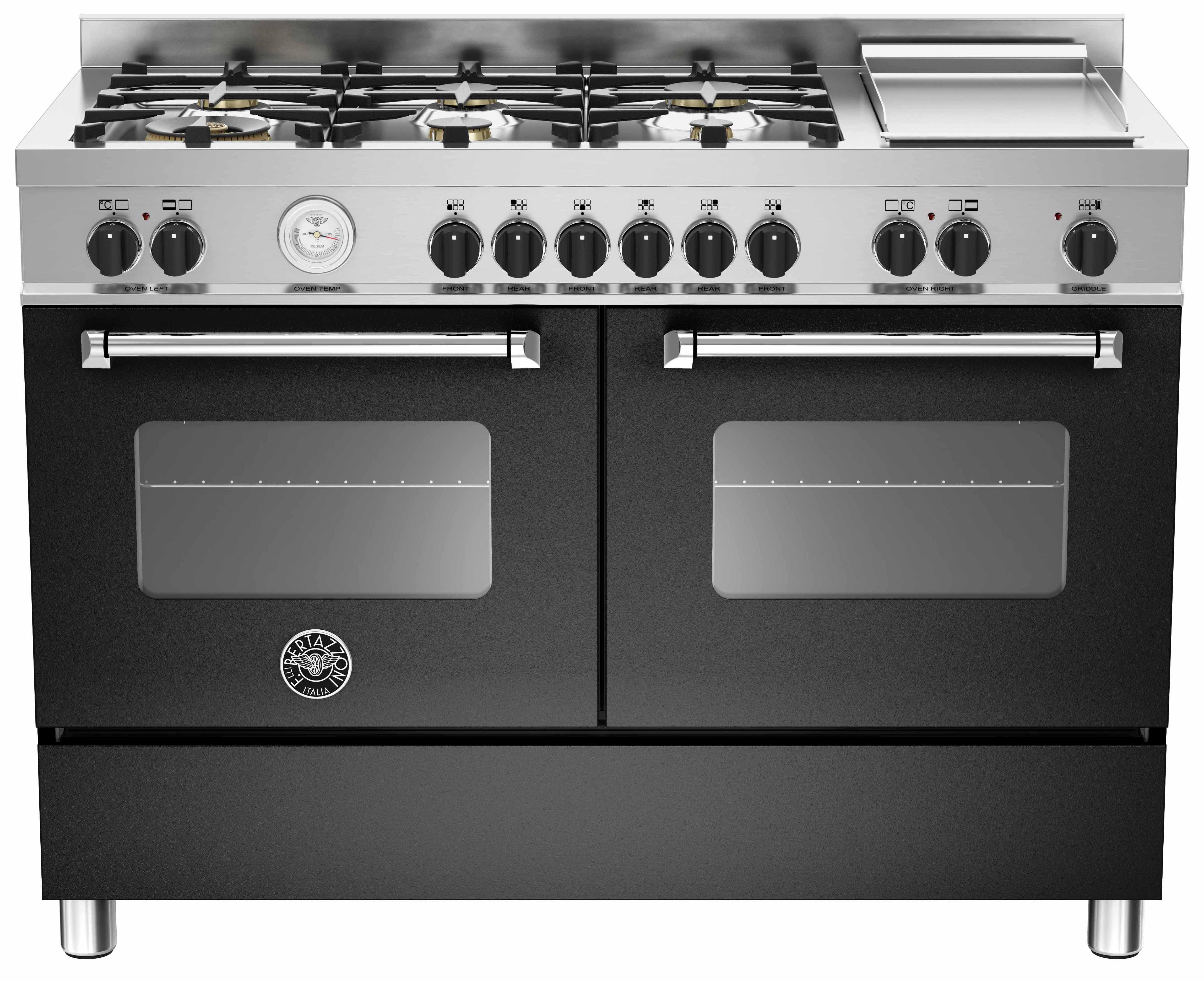 Bertazzoni MAS1206 Gasspis 120 cm, 2 ugnar, 6 brännare + elektrisk tepanyaki, Svart