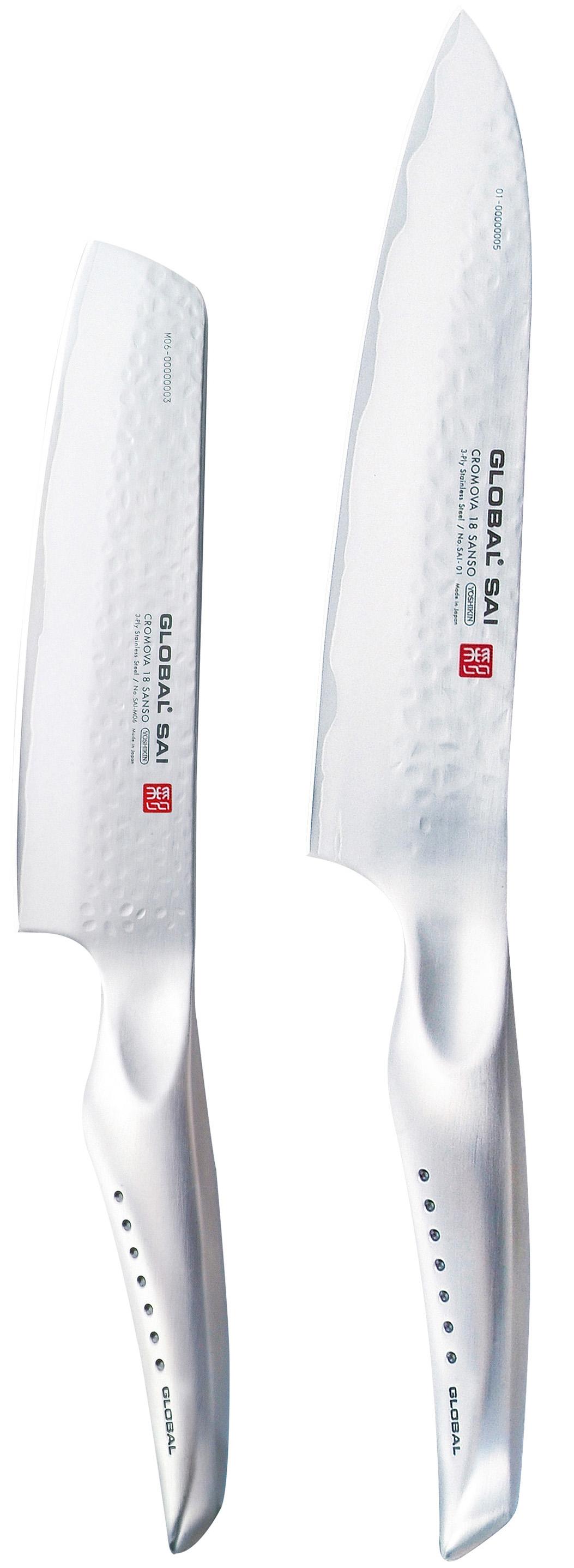 Global SAI Knivsett Kokkekniv + Liten Grønnsakskniv