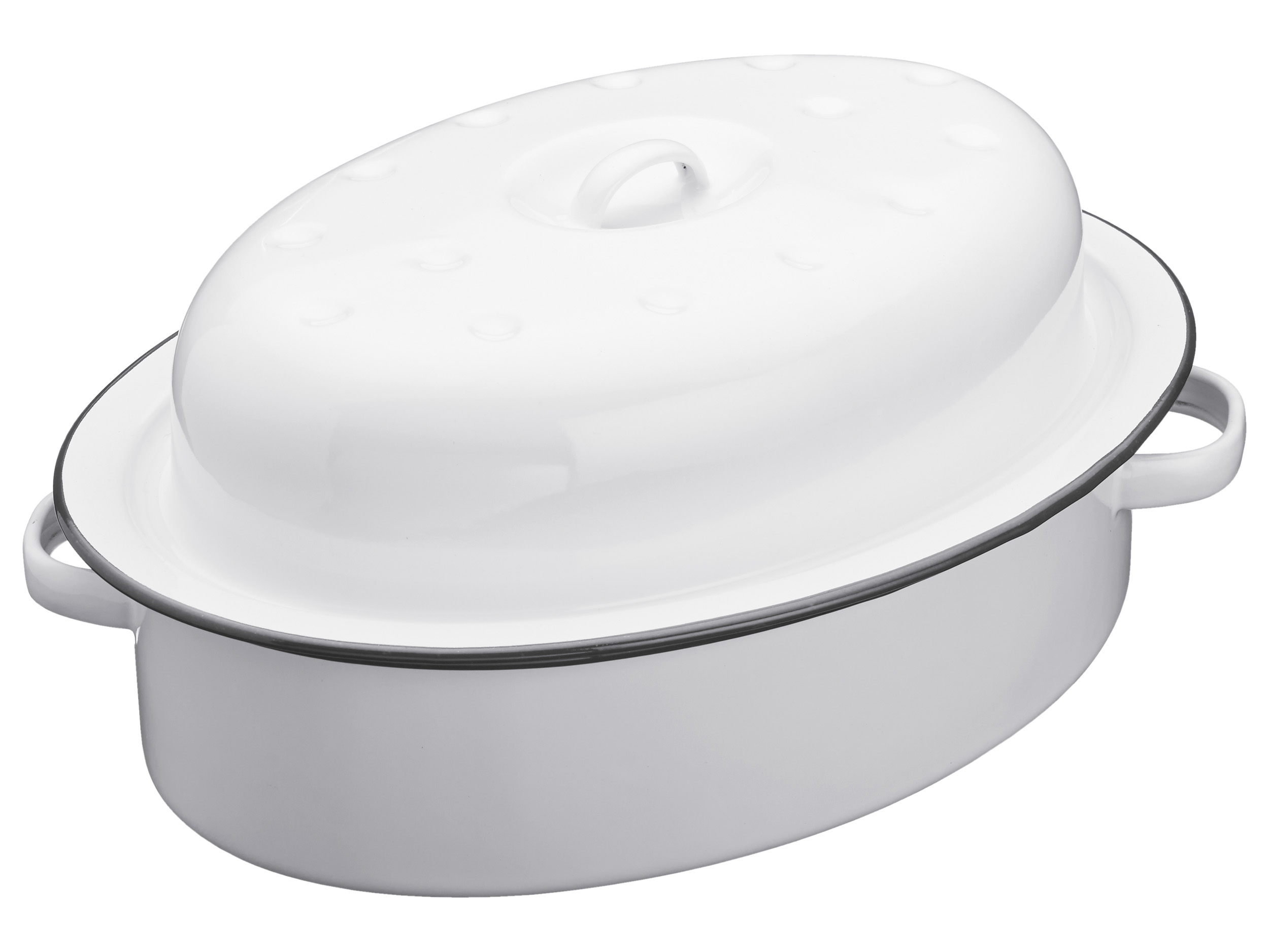 Kitchen Craft Emaljgryta Oval med lock - Vit/grå 30cm