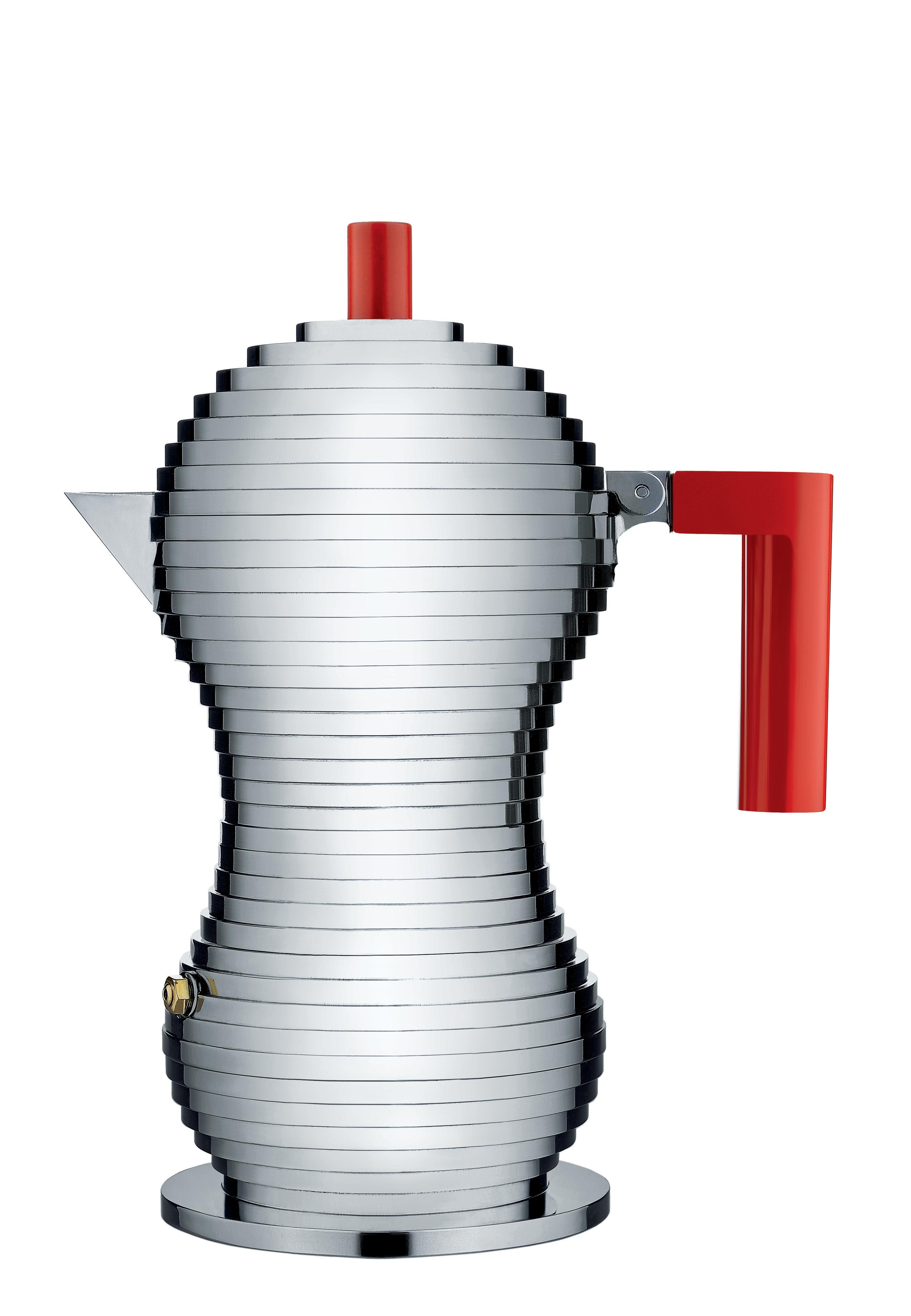 Alessi Mokabryggare Aluminium/Röd Medium 15 cl