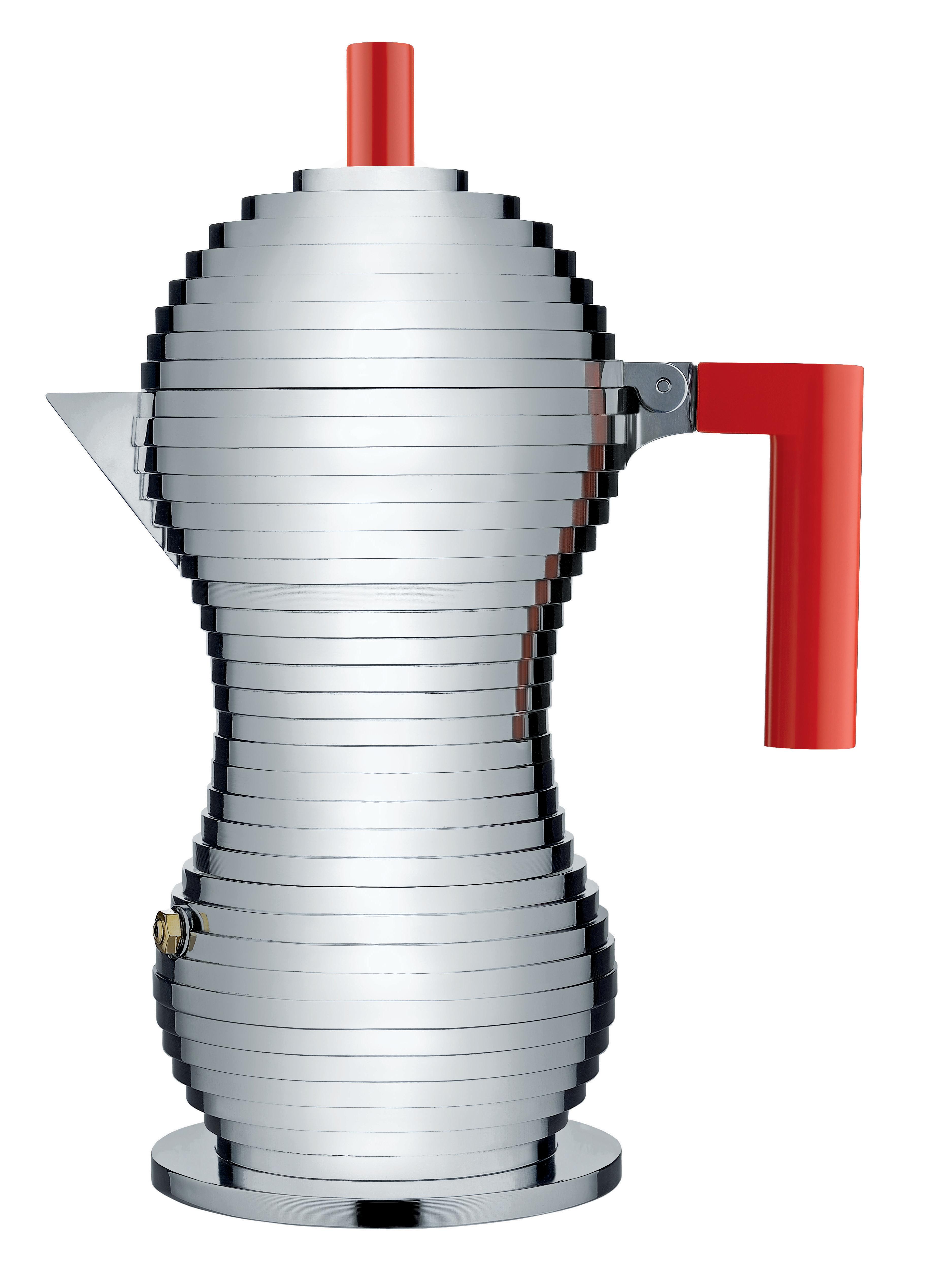 Alessi Mokabryggare Aluminium/Röd Large 30 cl