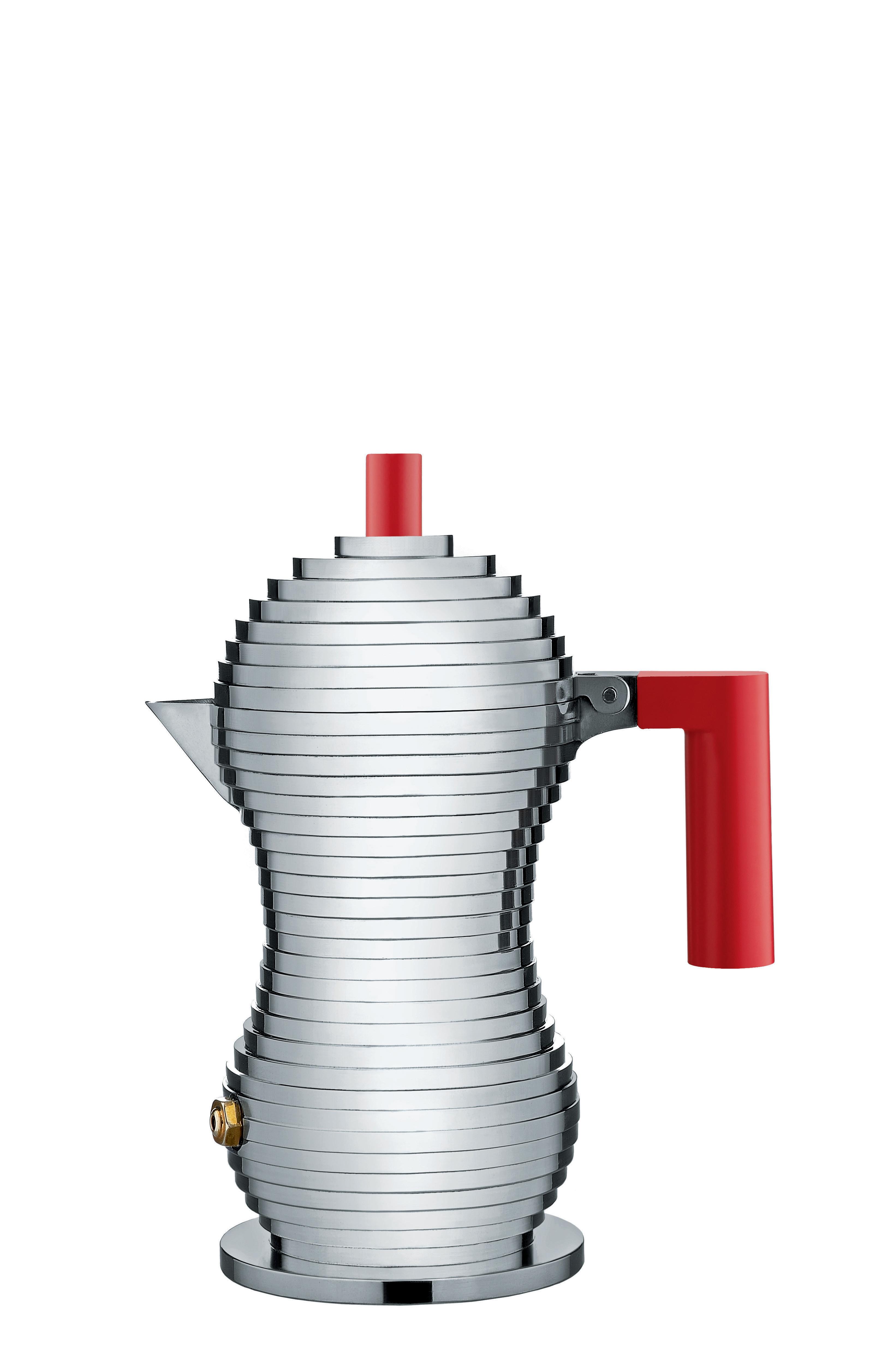 Alessi Mokabryggare Aluminium/Röd Small 7 cl