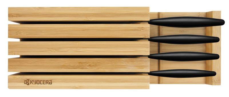 Kyocera Knivblock i Bambuträ med plats för 4 knivar