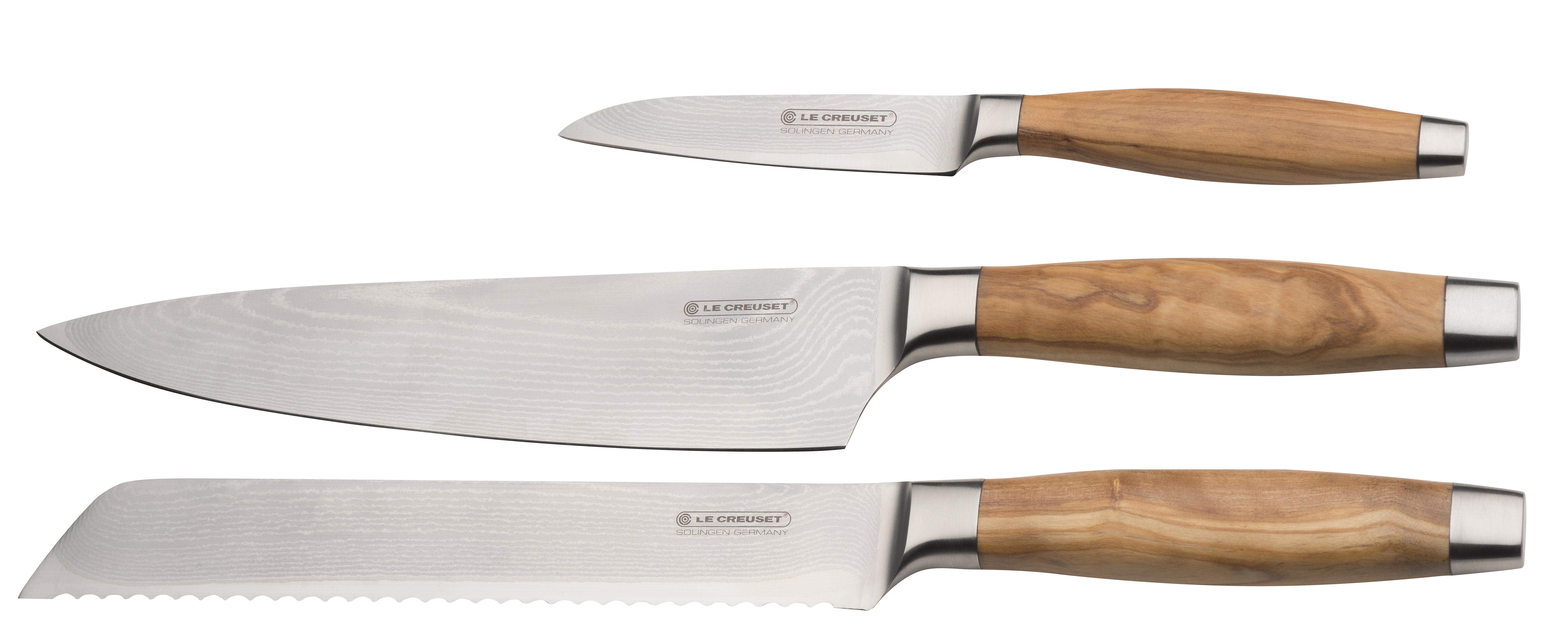 Le Creuset Knivsett 3 deler med Olivenhåndtak