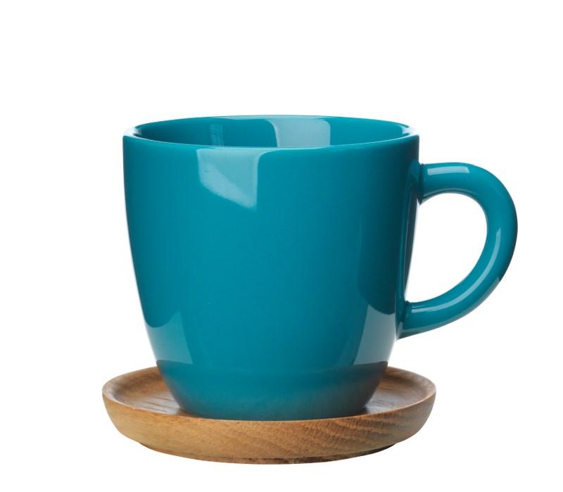 Höganäs Keramik Kaffemugg 33 cl med TräfatSjögrön blank