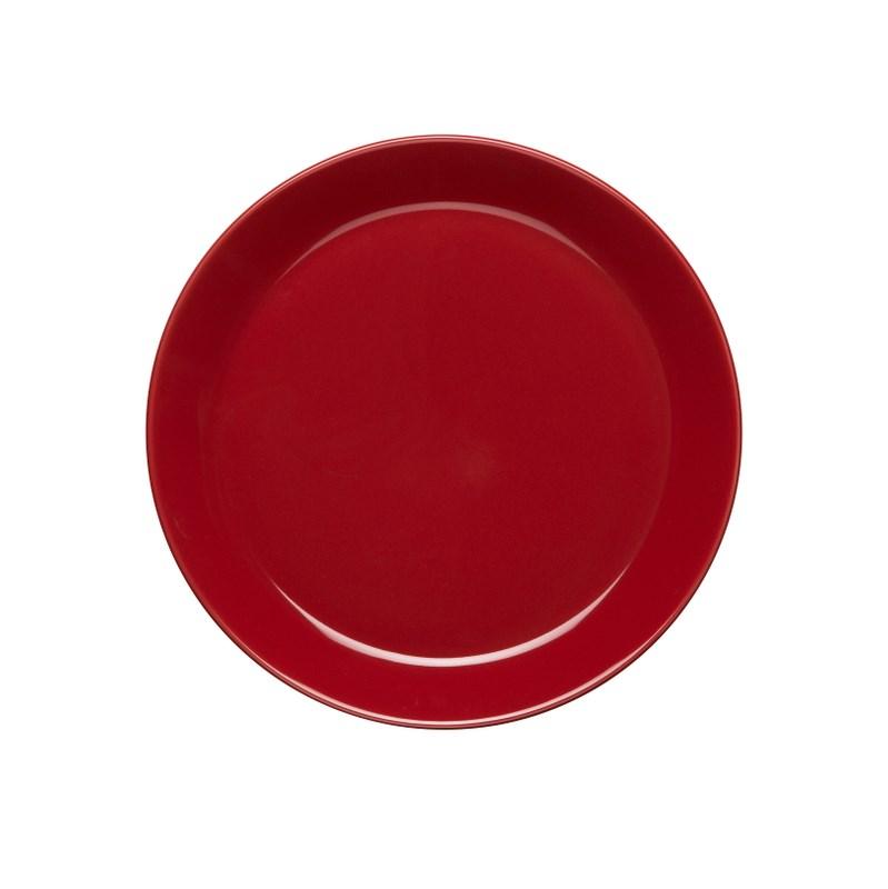 Höganäs Keramik Assiett 20 cm med kant Äppelrödblank