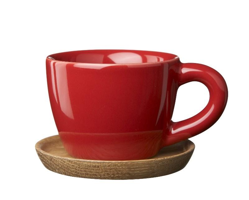 Höganäs Keramik Espressokopp 10 cl med Träfat Äppelröd blank