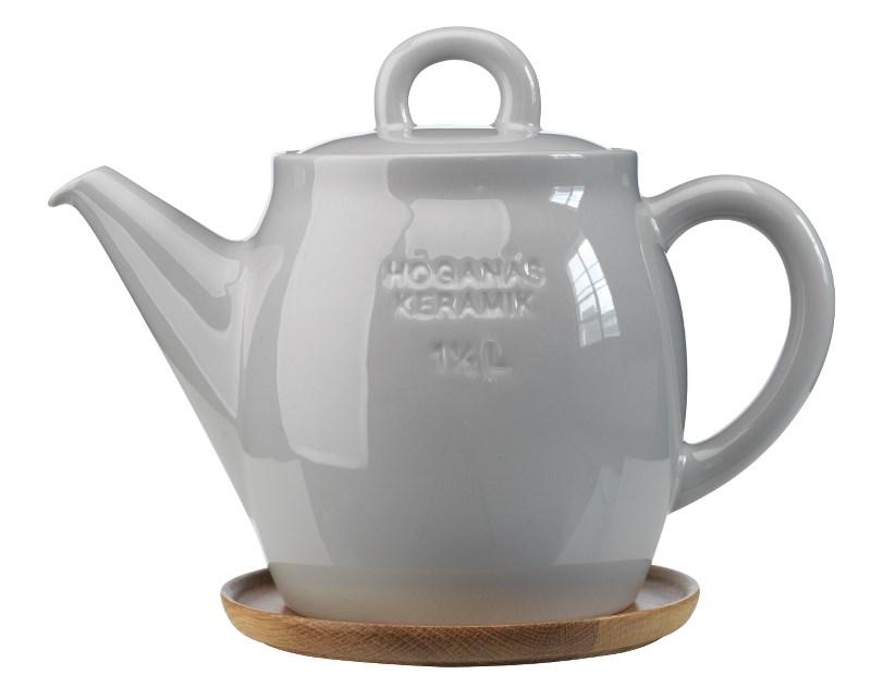Höganäs Keramik Tekanna 15 L med Träfat Kiselgrå blank