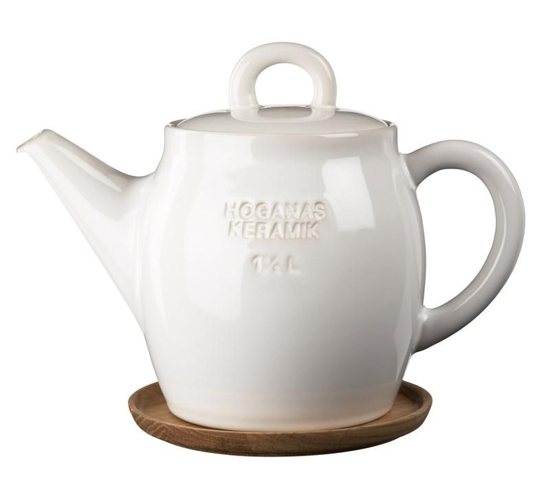 Höganäs Keramik Tekanna 15 L med Träfat Vit blank
