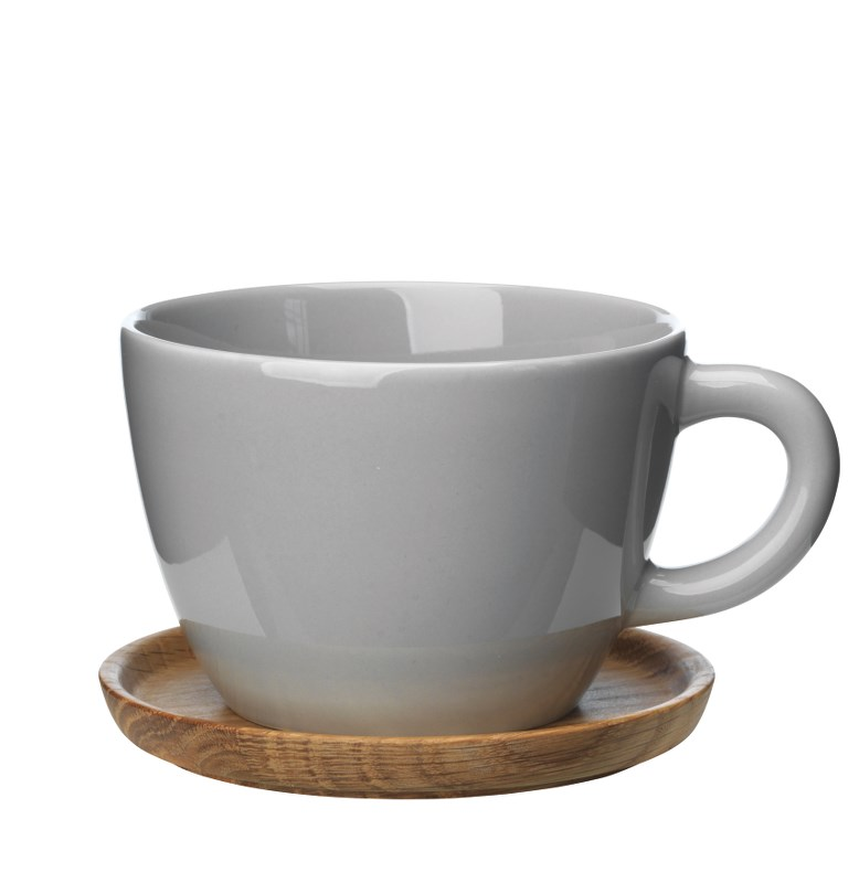 Höganäs Keramik Temugg 50 cl med Träfat Kiselgråblank