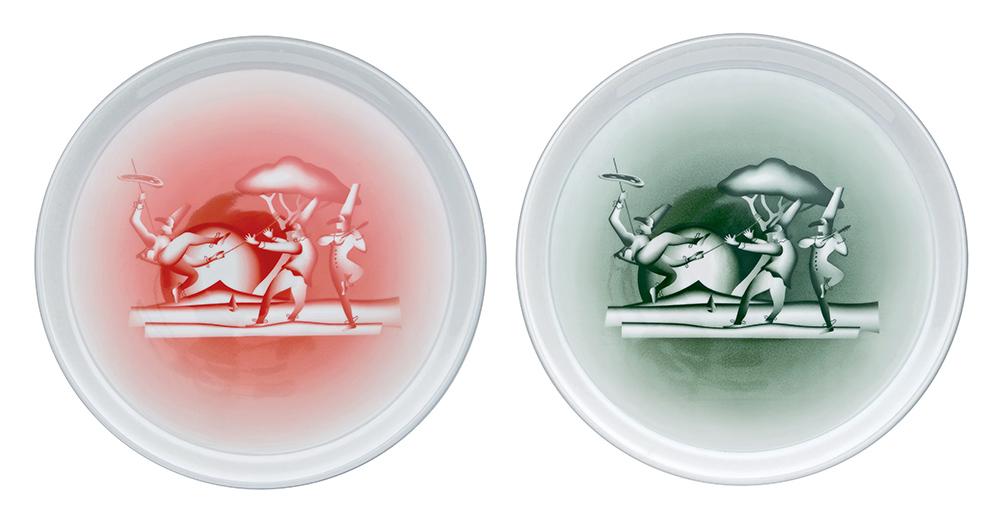 Alessi Vivanapoli Pizzatallrikar 2-pack Röd och Grön