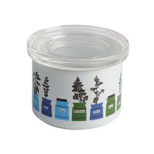 Almedahls Porslinsburk med Plexiglaslock Perssons kryddskåp Blå