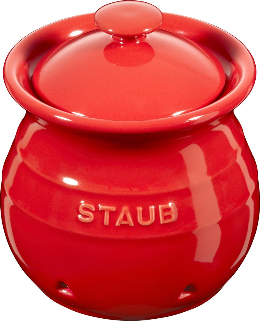 Staub Hvitløkskrukke, 11 cm, rød
