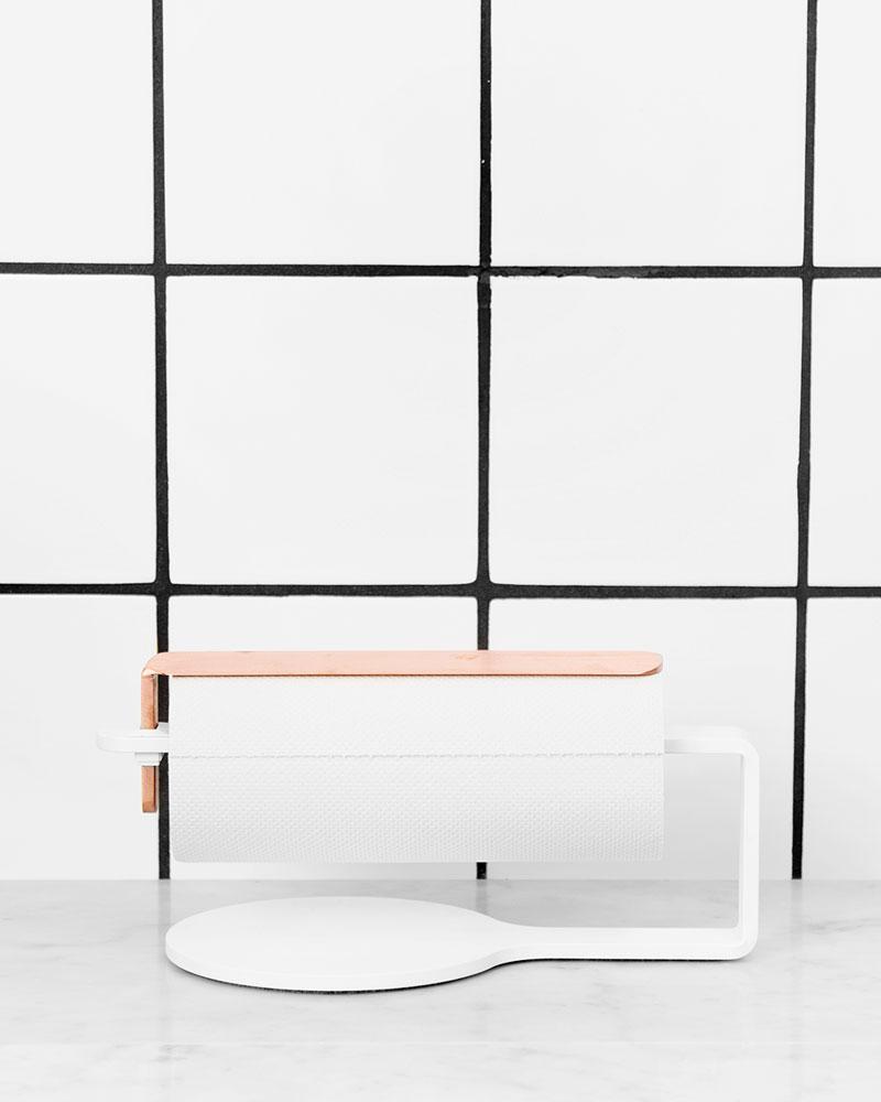 Scandinavian Design Factory Curve Hushållspappershållare Vit/Koppar
