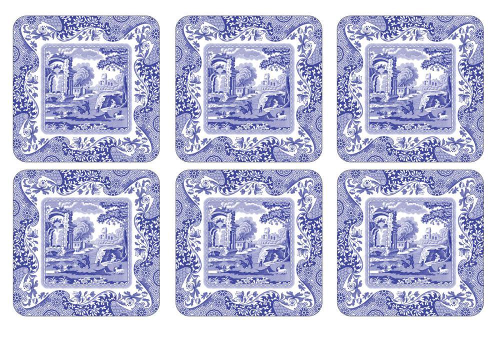 Spode Blue Italian Glasunderlägg 6-pack 10,5 x 10,5 cm