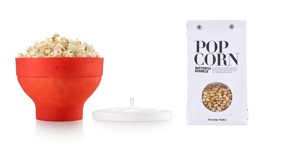 Lékué Popcorn Maker Micro Röd + Nicolas Vahé Popcorn 350g