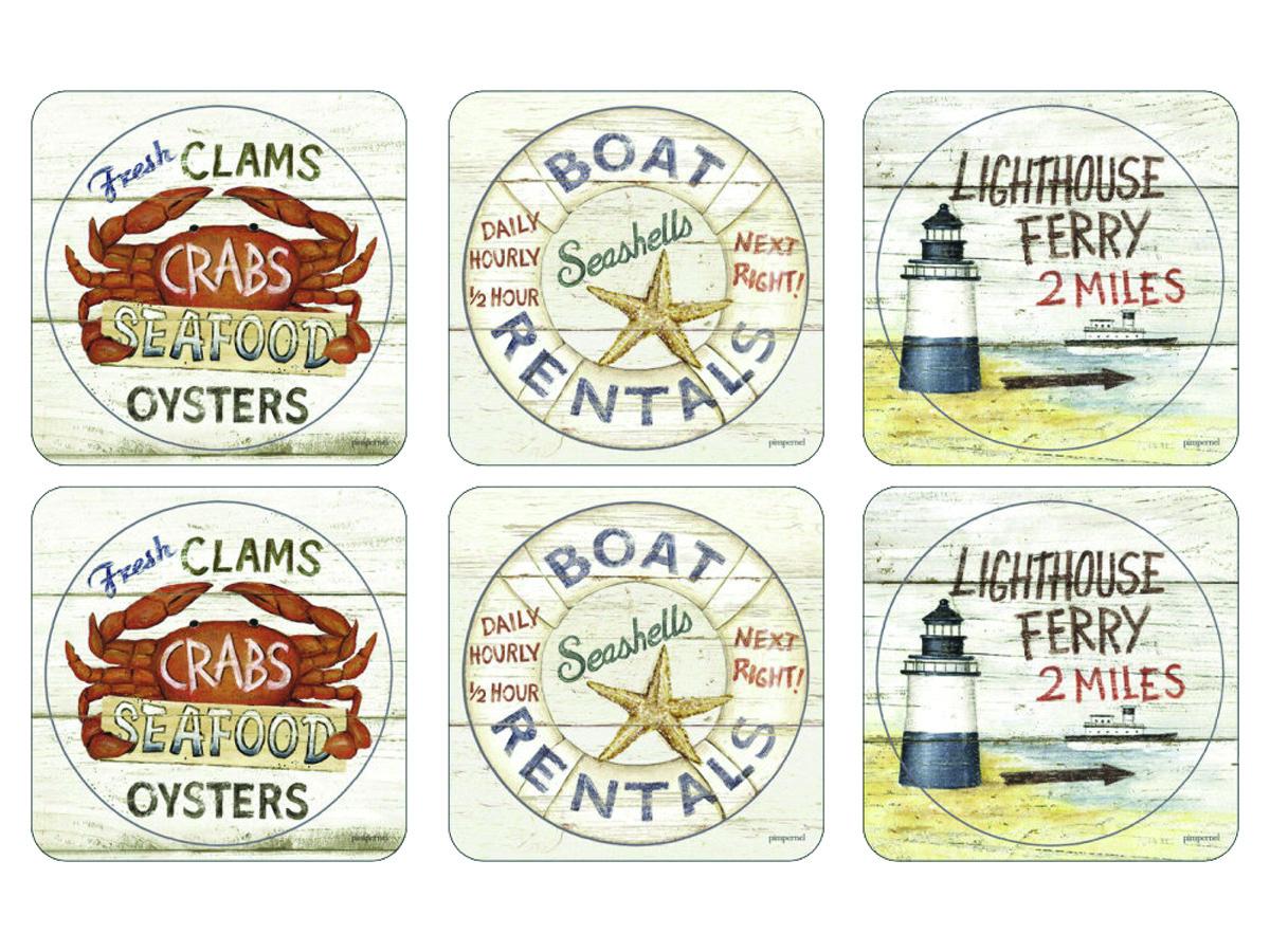 Pimpernel Coastal Signs Glasunderlägg 6-pack