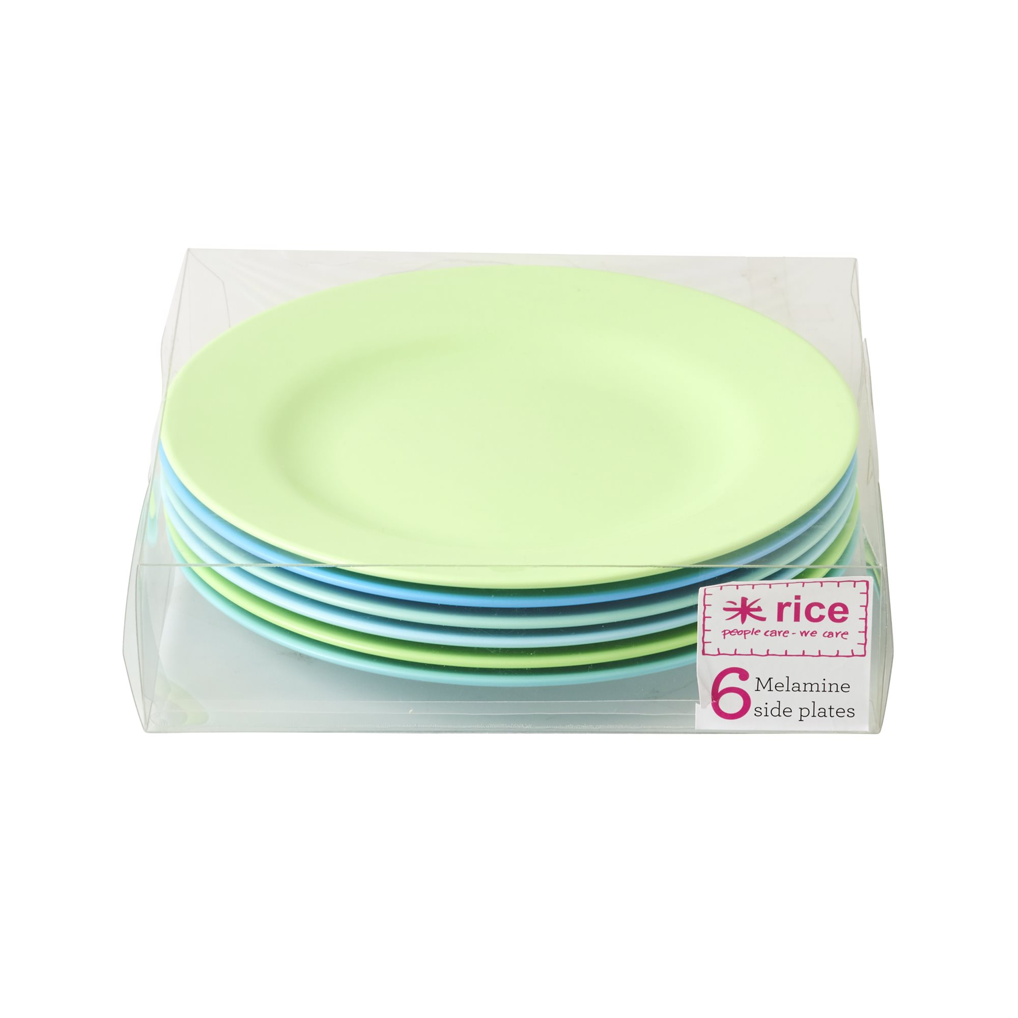 Rice Desserttallrikar Melamin 6 st Blå & Gröna