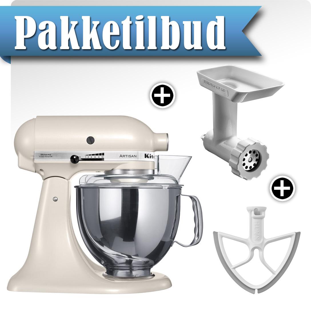KitchenAid Artisan KSM150PSELT Perlehvit + Kjøttkvern + Beaterblade