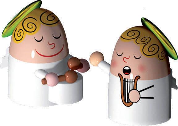 Alessi Porslinsfigurer Änglar 2 st Handmålade