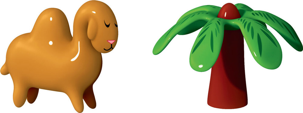 Alessi Porslinsfigurer Kamel & Palm Handmålade