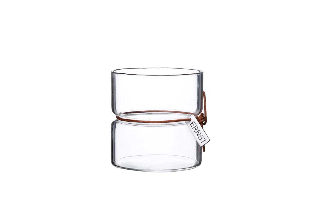 ERNST Värmeljuslykta Glas Ø8 x H8 cm