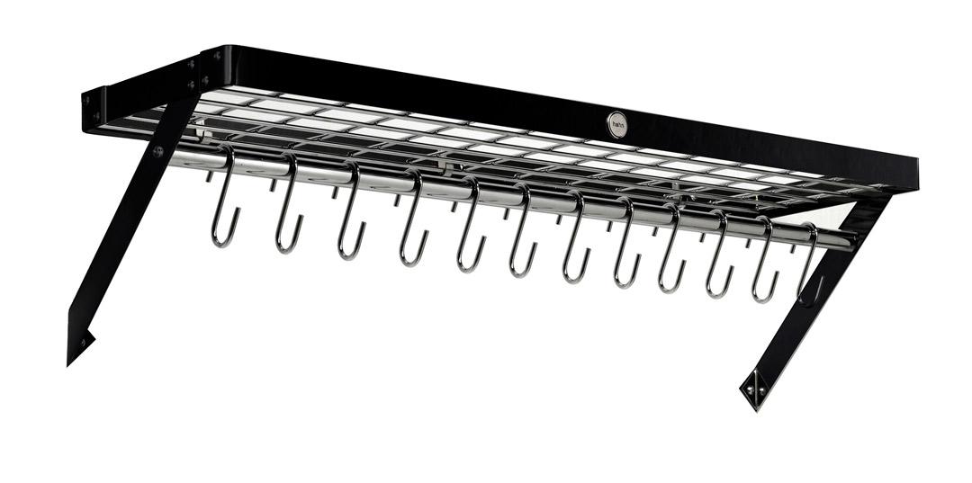 Hahn Premium Vegghylle XL 90x25 cm sort stål