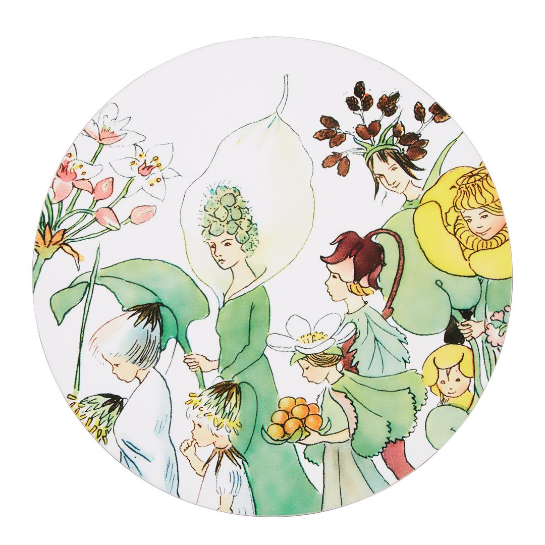 Elsa Beskow Grytunderlägg rund tryckt med kork Blomsterparaden