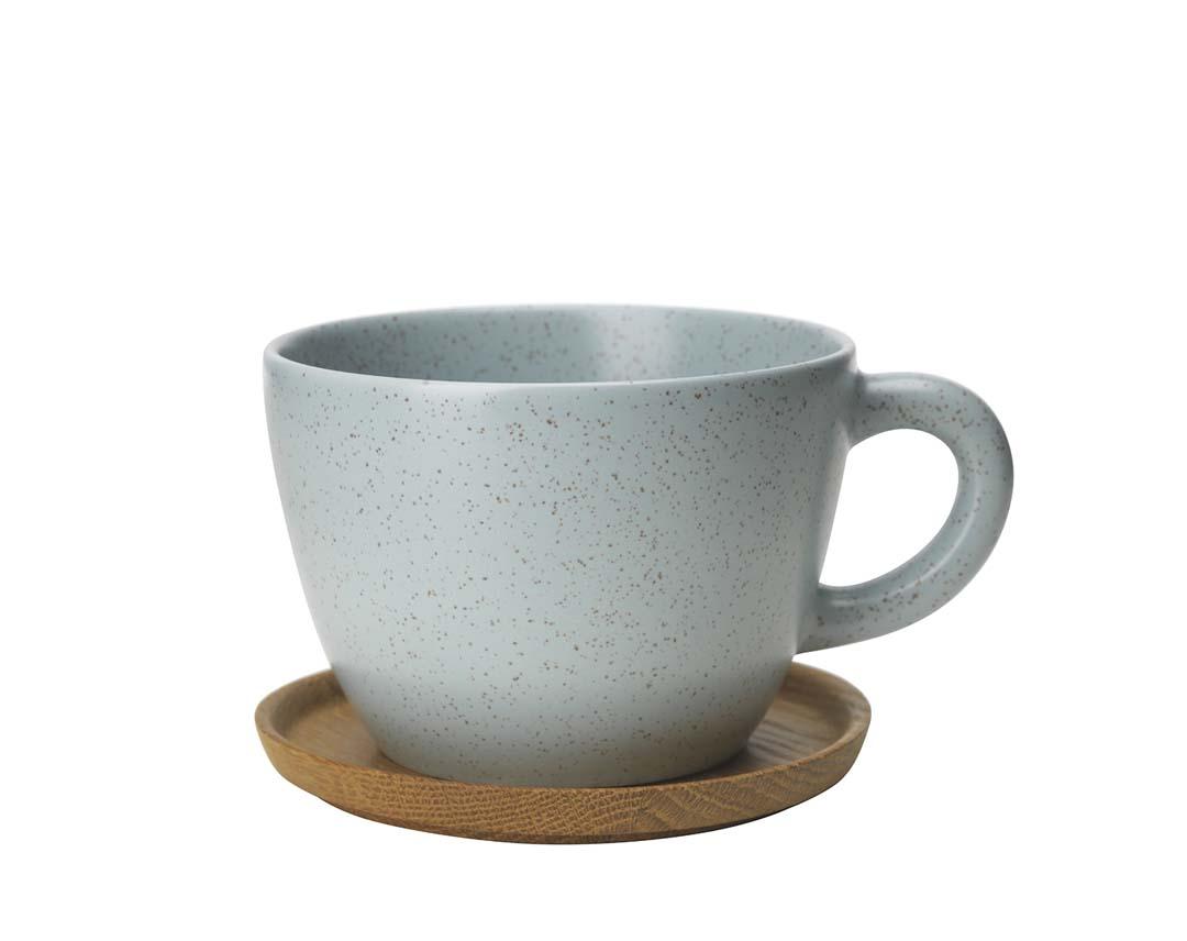 Höganäs Keramik temugg 50 cl med träfat frost