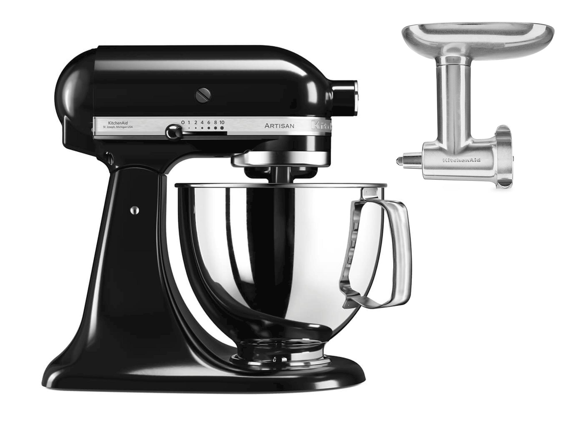 KitchenAid Artisan KSM125PSEOB Svart + Kjøttkvern Metall