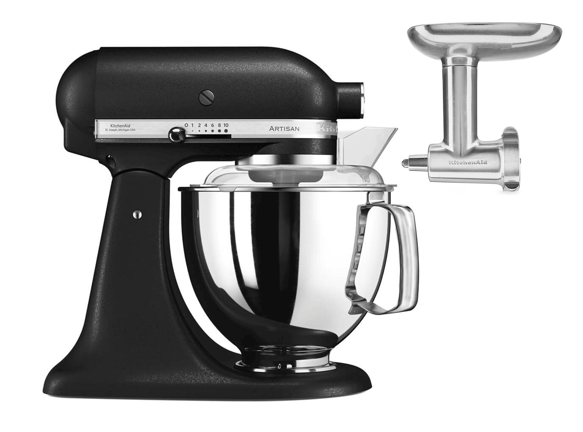 KitchenAid Artisan KSM175PSEBK Svart Lava + Kjøttkvern Metall